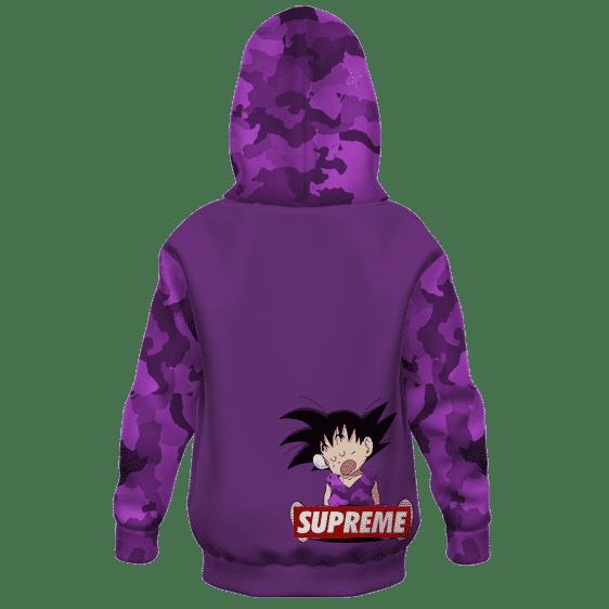 Dragon Ball Z Kid Goku Supreme Purple Camo Kids Hoodie Back