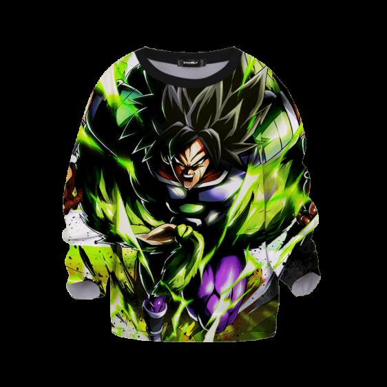 DBZ Legendary Broly Charging Green Black Dope Children's Sweater