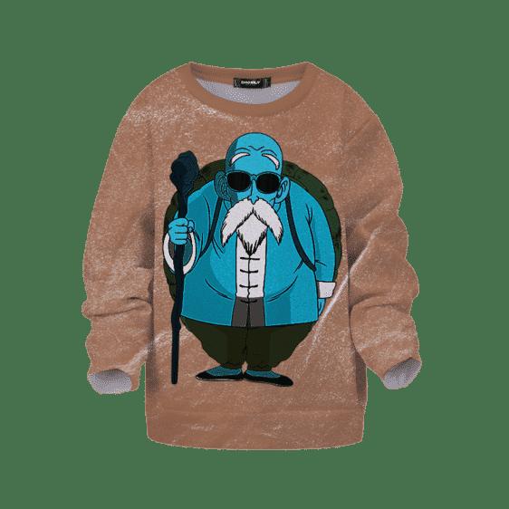 Dragon Ball Z Master Roshi Trippy Blue Brown Simple Kids Sweater
