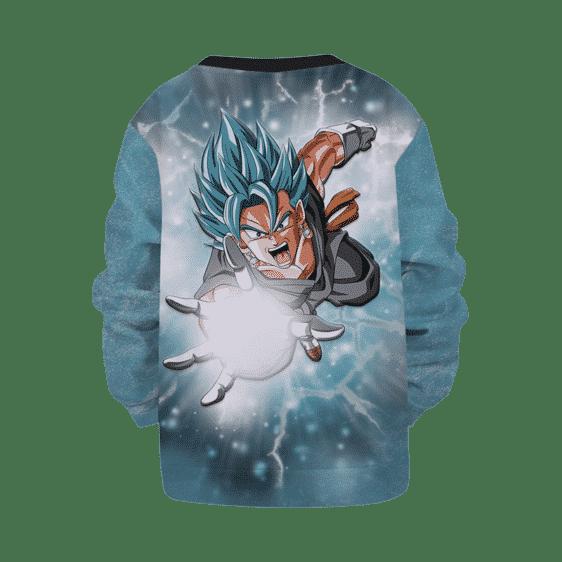 Dragon Ball Z Vegito Attack Gray Teal Washed Kids Sweatshirt