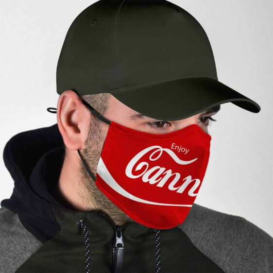Enjoy Cannabis Marijuana Coca Cola Parody Face Mask
