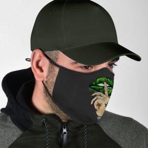 Shushing Cannabis Lips Not Today B*tch Tattoo Face Mask