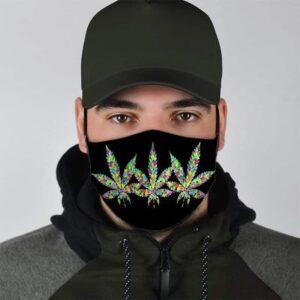 Colorful Cannabis Leaves Minimalist Black Face Mask