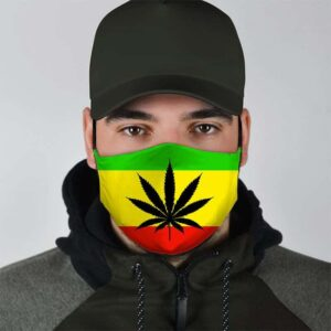 Hippie Cannabis Leaf in Rasta Colors for Stoners Face Mask