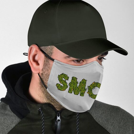 Smoke in Ganja Weeds Minimalist Gray Style Face Mask