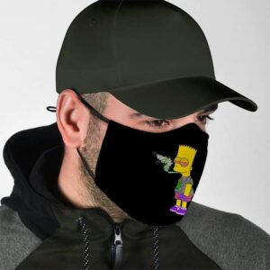 Bart Simpson High on Smoking Cannabis Joint Face Mask