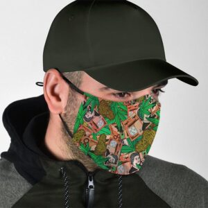 Weed Money and Paper Bills Hippie Pattern Face Mask
