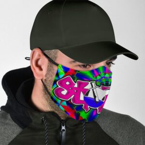 Stoned on Smoking in Bong Trippy Vibrant Colors Face Mask