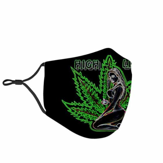 High Life Sexy Girl on Flower Bud Cannabis Face Mask