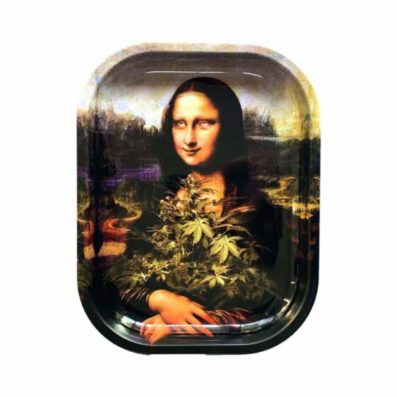 Famous Mona Weedsa High on Cannabis Leaves Rolling Tray