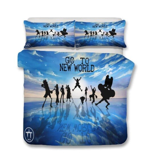 Go To New World Straw Hats Silhouette Blue Bedding Set
