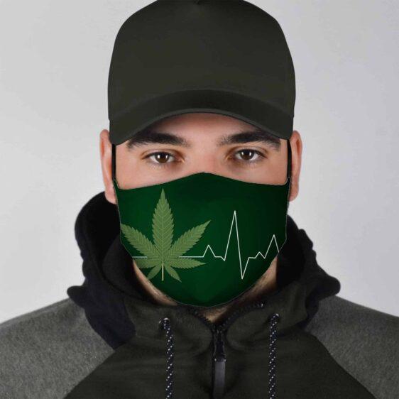 Green Cannabis Beating Lifeline Marijuana Face Mask
