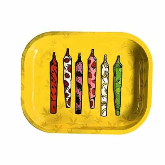 Hippie Fruit Wrapped 420 Cannabis Joints Rolling Tray
