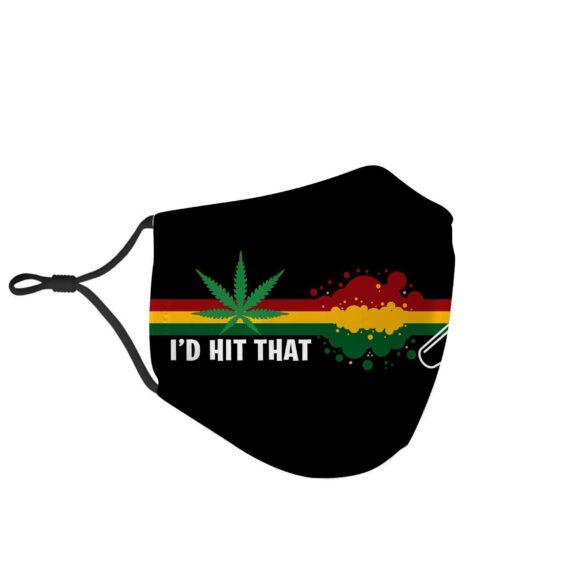 Id Hit That Marijuana Joint Rasta Flag Face Mask