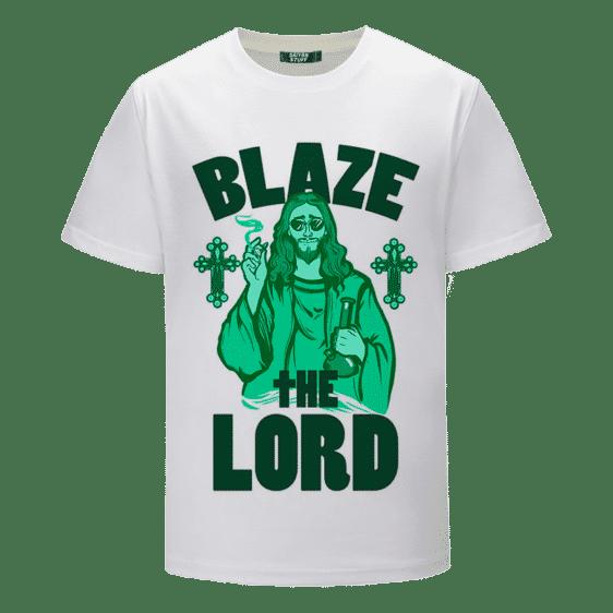 Jesus Smokes Blaze The Lord Funny Art 420 Marijuana T-Shirt