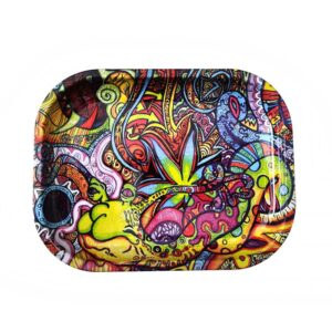 Kaleidoscopic Trippy Aliens Ganja Blunt Rolling Tray