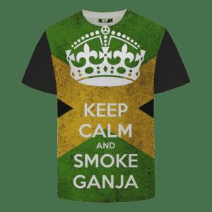 Keep Calm And Smoke Ganja Marijuana Hemp Brazil Flag T-shirt