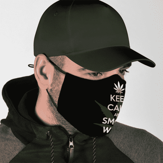 Keep Calm And Smoke Weed Marijuana Slogan Cool Face Mask