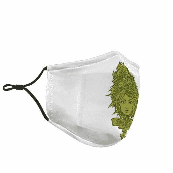 Kush Herb Sativa Marijuana 420 Beautiful Woman Green Awesome Face Mask