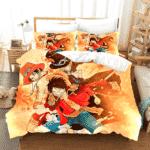 Luffy Ace And Sabo Strong Brotherhood Yellow Bedding Set
