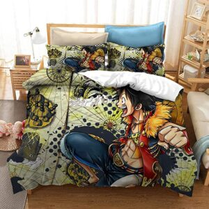 Luffy Thrilled Expression One Piece New World Map Bedding Set