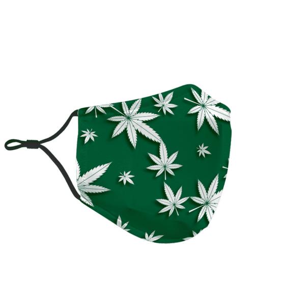 Marijuana Ganja Pattern Weed Green White Face Mask