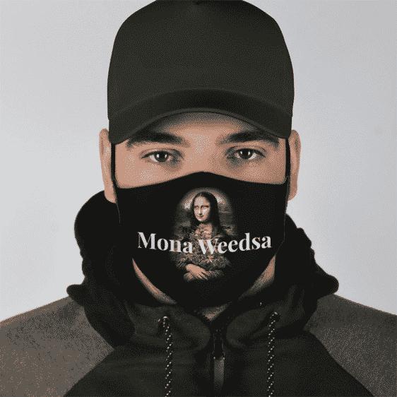Marijuana Mona Lisa Painting Weed Plant Stoned Awesome Cool Face Mask