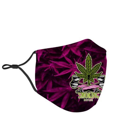 Marijuana Smoking Device Cannabis Themed Face Mask