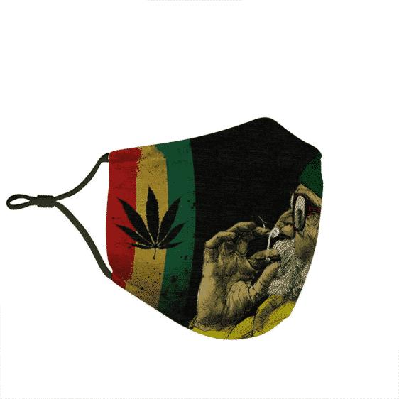 Marijuana Smoking Old Man Reggae Yellow Cool Face Mask