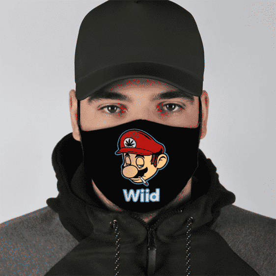Mario Smoking Weed Stoner Marijuana Wii Red Black Face Mask