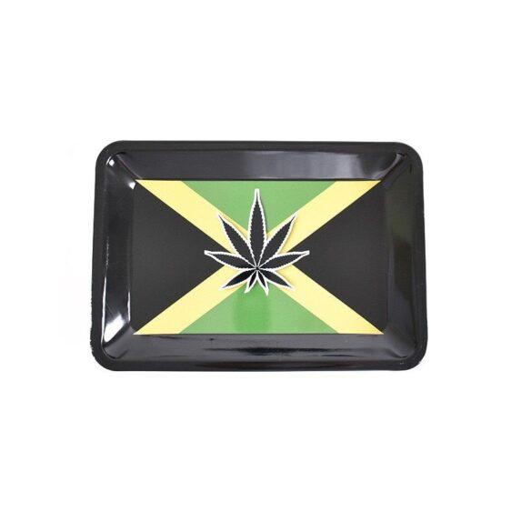 Minimalist Jamaican Marijuana Leaf Blunt Rolling Tray
