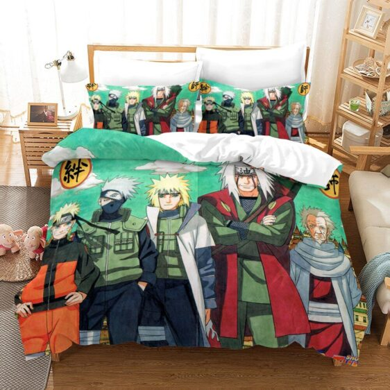 Naruto Kakashi Minato Jiraiya Sarutobi Fan Art Bedding Set