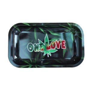 One Love by Bob Marley in Marijuana Leaf Rolling Tray