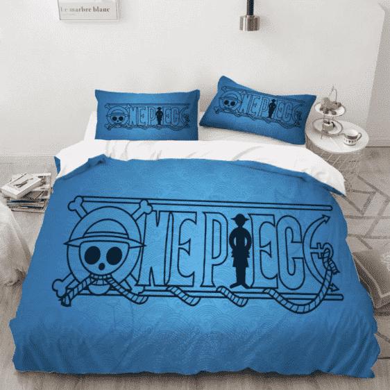One Piece Black Minimalist Anime Logo Blue Bedding Set
