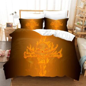 One Piece Flaming Whitebeard Pirates Logo Bedding Set