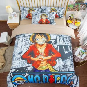 One Piece Luffy Black & White Comic Art Background Bed Set