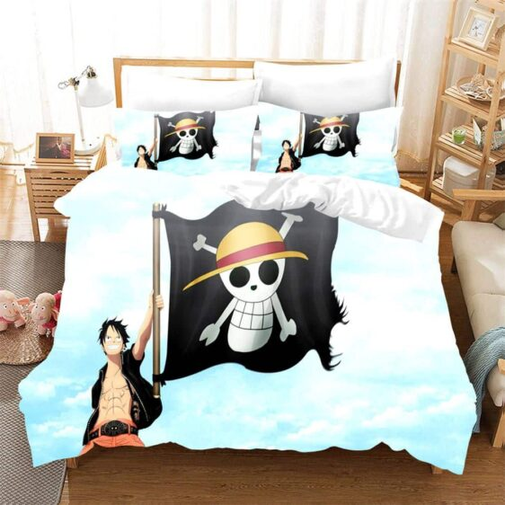 One Piece Luffy Holding The Straw Hat Pirate Flag Bed Set