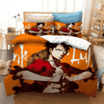 One Piece Monkey D. Luffy Cracking Joints Orange Bedding Set