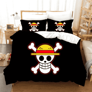One Piece Mugiwara Jolly Roger Symbol Black Bedding Set