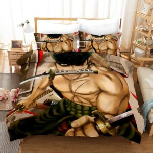 One Piece Roronoa Zoro Three Swords Combatant Bedding Set