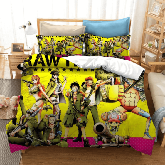 One Piece Straw Hat Crew Military Version Yellow Bed Set