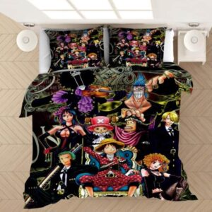One Piece Straw Hat Mugiwara Pirates Black Bedding Set
