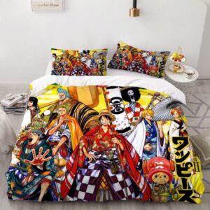 One Piece Straw Hat Pirates Kimono Outfit Bedding Set