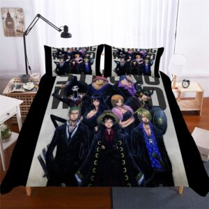 One Piece Strong World Straw Hat Pirates Black Bedding Set