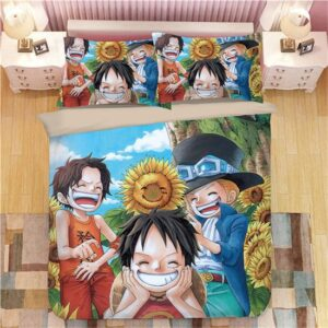 Playful Young Ace Luffy & Sabo Sunflower Garden Bedding Set