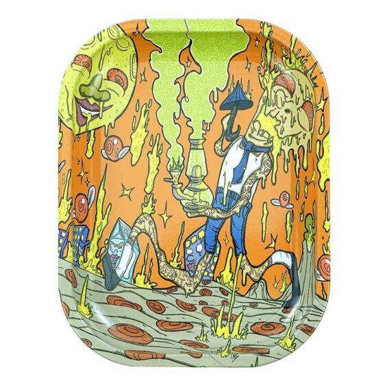 Psychedelic Raining Peperoni With Cheese Marijuana Rolling Tray