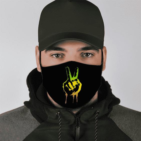 Reggae Peace Sign Weed Marijuana Minimalist Face Mask