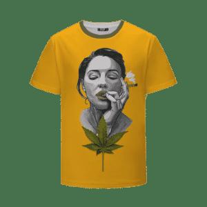 Sexy Portrait Painting Women Smoking Cannabis Blunt T-Shirt