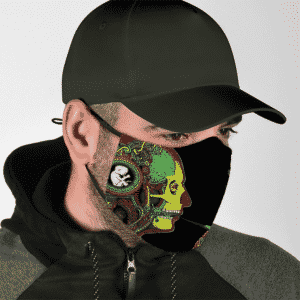 Skull Trippy Smoking Marijuana Pipe Butterfly Dope Face Mask