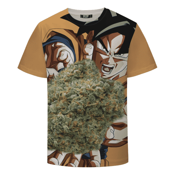 Son Goku Charging Up Kamehameha Kush 420 Marijuana T-shirt